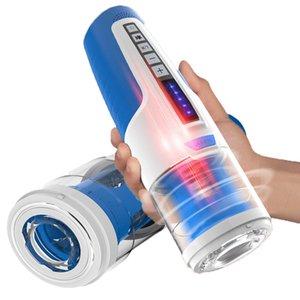 Automatische Kolbenteleskop MannesMasturbator RotatingRetractable Stimme Sex Machine Strong saugen Vibrator Oral Sex-Spielzeug für Männer T200517