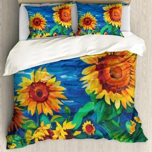 HUGSIDEA Sunflower Stampa 3pcs Famiglia Bedding Set include personalizzato copripiumino federa della decorazione della stanza antipolvere