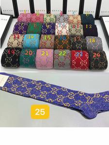 Kutu Ünlü Mektubu uzun Çorap Yeni Pamuk Çorap Gömme Marka Tasarım G kadın çorapları A03 ile Marka tasarımcısı