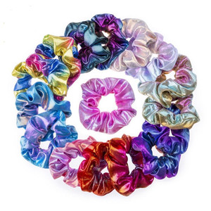 2020 Glitter Lady Girls Hair Scrunchies Ring Elastic Hair Bands Pure Color Bobble Sports Dance Velvet Soft Charming Scrunchie Hairband