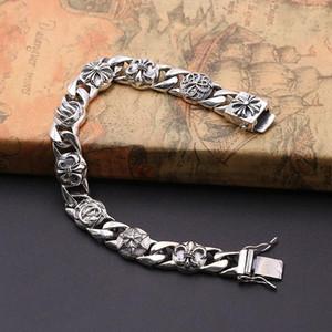 إضفاء الطابع الشخصي على 925 الفضة الاسترليني المجوهرات خمر الأمريكية العتيقة المصنوعة يدويا مصمم سميكة رابط الصلبان أساور للرجال
