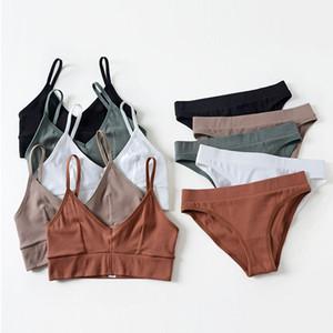 Mujeres nueva moda de algodón sin costuras sujetadores conjuntos Push Up Bra Set cómodo Sexy ropa interior colores del caramelo