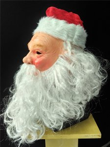Christmas Cosplay Costumes Santa Claus Latex Mask with Christmas Hat
