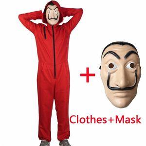 2 piezas Salvador Dali Cosplay Movie Mask Money Heist The House of Paper La Casa De Papel Cosplay Costume + Face MaskSalvador Dali