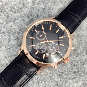 2019 Fashion stainless Steel Quartz Man Leather watch Japan Movement watches rose gold Wristwatches Brand male clock Brown Big Quartz Clock