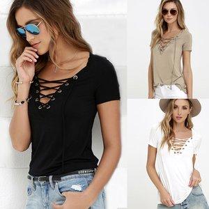T Shirt Mulheres Tops T para mulheres camiseta manga curta profunda Sexy Bandage Shirts Lace Up Tops Preto Femme Sólidos