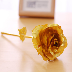 24k Gold Foil Plated Rose Creative Gifts Lasts Forever Rose Flowers for Lover Wedding Christmas Valentines Mothers Day Decoration YYS3357