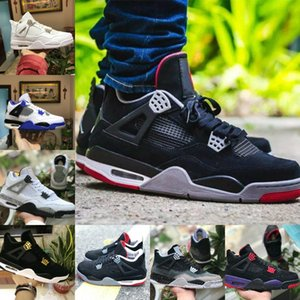2019 Nike Air Jordan 4 retro jordans Pure Money Motorsport Noir Infrarouge NRG Raptors Chaussures de Basketball Tatouage Noir Blanc Ciment Graffiti Cactus Hommes 4 Sneakers Bred