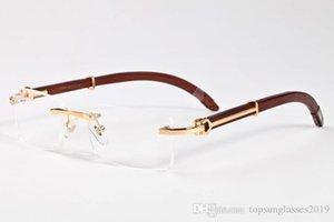 designer sunglasses 2019 fashion brand rimless buffalo horn glasses women wood sunglasses for men bamboo frame clear lenses rimless glasses
