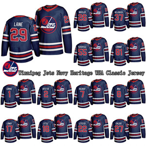 Hombre Winnipeg Jets 2019-20 Heritage de la Marina Wha Classic Jersey 29 Patrik Laine 26 Blake Wheeler Personalizado Cualquier nombre Cualquier Número de Jerseys Hockey