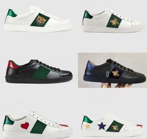2020 Deportes clásicos zapatos de los hombres de las mujeres de lujo del diseñador 100% plano de vaca auténtica calzados informales de la Pequeña abeja bordada blanca tamaño de los zapatos de los amantes