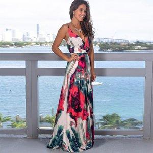 vestidos 2020 da cópia floral manga curta Boho designer vestido vestido de noite vestido de festa longo vestido maxi Verão Vestido de Verão Vestuário para mulheres