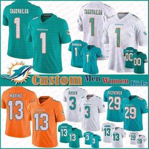 1 Tua Tagovailoa MiamiDolphin personalizado Hombres Mujeres Niños camiseta de fútbol de 11 DeVante Parker 25 Xavien Howard 13 Dan Marino 94 Wilkins jerseys