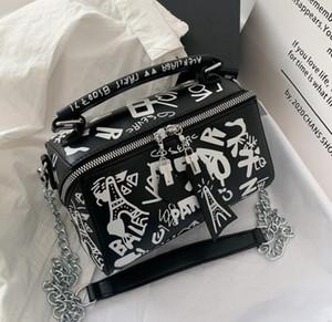 Lujo diseñador de los bolsos monederos mujeres del verano de la manera empaqueta los bolsos de hombro de la pintada de la cadena señoras de París Graffiti totalizadores