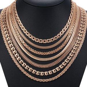 Personalize Necklace For Women Men 585 Rose Gold Venitian Curb Snail Foxtail Link Chains Necklace Fashion Jewelry 50cm 60cm CNN1