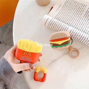 Cute Cartoon Silicone Case For Apple Airpods 1 2 Fries Burger Creative Cover Airpods Wireless Bluetooth Earpods case for Apple Airpod