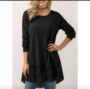 Solid Color Long Sleeve Crew Neck Tees Lace Panelled Hooded Tops 2020 Womens Designer Tshirts Spring Autumn