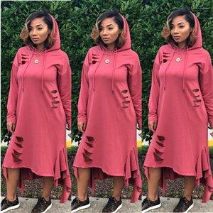 Elbiseler Tasarımcı Kazak Kapşonlu Elbiseler Dişiler Giyim Kasetli Günlük Elbiseler Moda Asimetrik Hollow Out Womens Womens