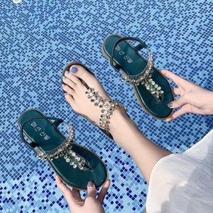 Overseas2019 Pattern New Women's Shoes Herringbone Toe Woman Xia Pingdi All-match. Sandy Beach Rhinestone Pinch Sandals