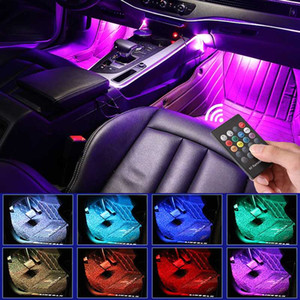 Levou Interior de carro Backlight com USB isqueiro atmosfera ambiente Mood Light Rgb remoto App Auto Pé lâmpada decorativa