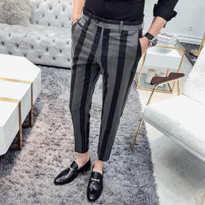 Men Suit Pants Stripe Fashion Business Casual Suit Pants Men Original Designer  Straight Slim Fit Formal Trousers DS50659