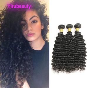 Venta al por mayor 10 piezas / lote Paquetes de onda profunda Extensiones de cabello barato Curl de profundidad 8-28 pulgadas 10pieces Color natural 100% trama de cabello humano