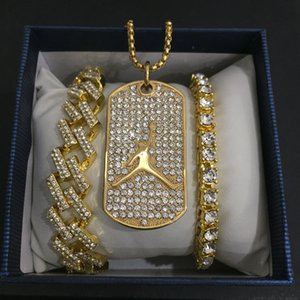 Хип-хоп мужчины золото баскетбол ожерелье Майами кристалл льда из кубинского камня кулон ожерелье браслет комбо хип-хоп ювелирные изделия для мужчин