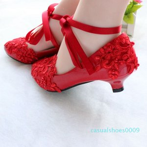 Red bridal lace strappy wedding shoes handmade bridesmaid shoes low heel white performance flat-bottomed photo shoes 09c
