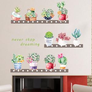 Las suculentas% flores de plantas de maceta Cactus bricolaje etiqueta de la pared del cuarto de niños Salón fondo del sofá de pared del vinilo del arte del cartel extraíble