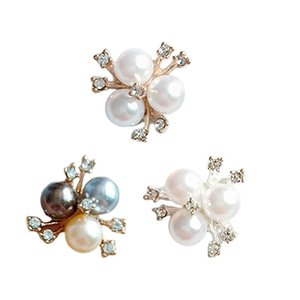 10Pcs Pearl Rhinestone Flower Embellishments Brooch Flatback Buttons DIY Crafts NEW