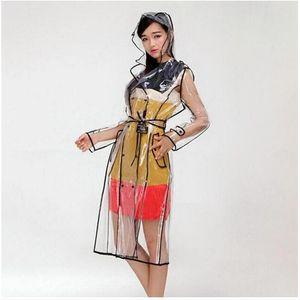 Hood Bayanlar Seyahat Ceket Rainwear ile Şeffaf EVA Vinil Su geçirmez Trençkotlar Kadınlar Uzun Temizle Pist Yağmurluk