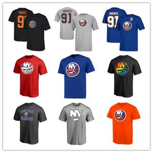 Herren New York Islanders # 91 John Tavares Marke Schwarz T-Shirts Grau Blau Hockey Trikots 18 19 Sport Outdoor-Shirts niedrigen Preis gedruckt Logos