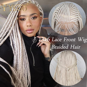 Yyso Long Micro Braided Hair 13x6 Synthetic Lytle Front Wiggs for Black Women Side Part White Color Box Braided Park 6 Deep Parting