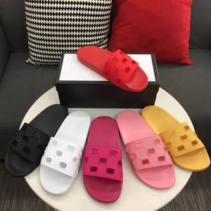 2019 womens moda luxe sandálias de slides de borracha sandálias flats com recorte logotipo em relevo sacos de poeira caixa