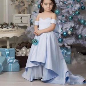 Light Blue Flower Girl Dresses Satin A Line Sweetheart Off Shoulder Vestidos de fiesta de boda largos con lazo para niños