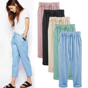 Talle alto recto flojo nueve pantalones de primavera y verano de las mujeres Harem casual de las señoras Pantalones Mujer Pantalones Pantalón de gran tamaño 6XL