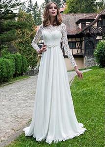 Scoop Lace Long Sleeves Chiffon A-line Brautkleider Custom Made Brautkleider Formale Frühling Vestidos de Ehe plus Größe