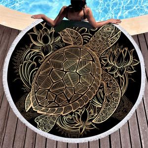 Serviette de plage ronde en tortues avec macramé luxe noir 150cm Grande serviette de plage ronde pour adultes Serviette en microfibre plage C19041201