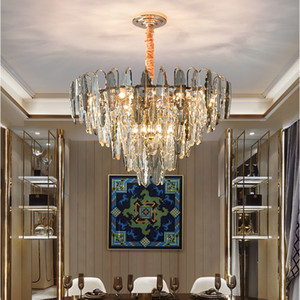 New Chandelier Lighting Luxury Hotel Culb Living Room Decoration Light Modern Crystal Chandelier Atmosphere Dining Room Bedroom Pendant Lamp
