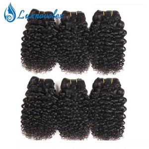 H brasileño recto 6 paquetes de pelo onda del cuerpo de la onda profunda rizado rizado corto cabello humano de la armadura de paquetes extensiones del cabello humano de 8 pulgadas 50g Bun