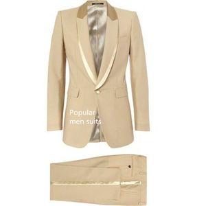 Men Wedding Suits 2020 Khaki Men Suits Slim Fit Groom Tuxedos Groomsman Blazer for 2 pieces (Jacket+Pants+Tie)