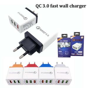 QC3.0 EUA UE três portas usb plug carregador usb de viagem 30 W rápido rápido carregador 12 v 9 V adaptadores de energia Para xiaomi huawei p30 S10 NOTA 9