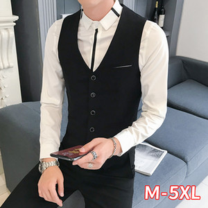 Men's Sleeveless Jacket 2020 Spring New Casual Korean Slim Nightclub Wear Slim Jacket V Neck Formal Tops