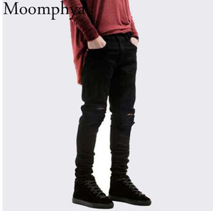 New Black Ripped Jeans Men With Holes Denim Super Skinny Famous Slim Fit Jean Pants Scratched Biker Jeans