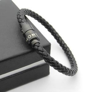 316l titanium homens de aço fivela magnética trança de couro genuíno pulseira em 20 cm para o homem pulseira 18k verdadeiro ouro charme pulseira jóia