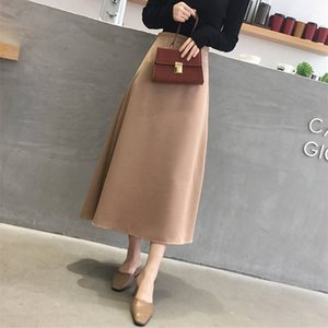 Korean Casual Skirts Women Silk Skirt Women Elegant Satin Office Lady High Waist Bodycon Skirt Faldas Mujer Moda