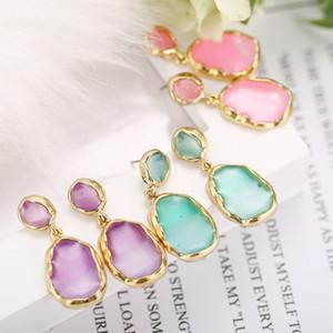 Nouveau design coréen bijoux de mode boucles d'oreilles en acrylique transparent pour les femmes en métal doré boucles d'oreilles géométriques
