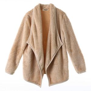 Mode féminine hiver chaud à manches longues Veste ouverte Stitch Manteaux Casual col de fourrure à capuchon en vrac Vestes Parka Manteaux Manteaux Tops
