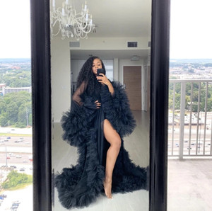2020 New Chic See Thru Tulle Ruffles Black Long Kimono Tiered Ruched A-line Prom Gowns Puffy Sleeves African Cape Cloak