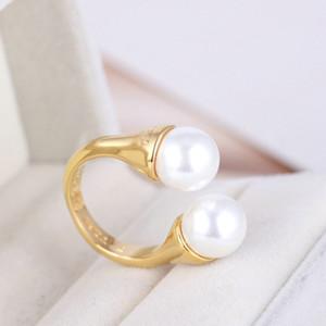 envío libre plateado oro verdadero Marca perla perlas de cristal doble Cluster de la venta caliente Banda Cóctel Anillos Anillo letra de la manera Para las mujeres de la muchacha